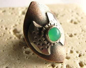 Copper Ring, Chrysoprase Ring, Labrys Ring, Metalsmith Jewelry, Silver Ring Size 6.5 Double Axe, Ax Ring, Statement Ring, Copper Jewelry