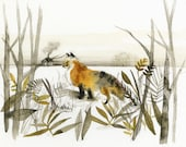 "Fox Art - Fox Print of an original watercolor- ""January Fox"""