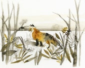 """Fox Art - Fox Print of an original watercolor- """"January Fox"""""""