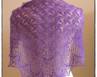 Purple Luxury - Merino Lace Knit Shawl / Scarf