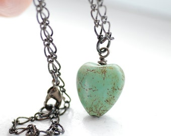 Mint Green Heart Necklace, Green Heart Pendant, Pendant Necklace, Pastel Necklace, Seafoam Heart Necklace, Stone Heart and Gunmetal - Softly