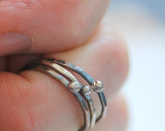Mixed Metal Rings, Hammered Rings, Silver Droplet Rings, Skinny Rings, Stacking Rings, Rustic Rings, Set of 3, MADE TO ORDER