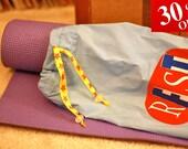 30% OFF thru 2/14 Upcycled Yoga Mat Bag - blue, stars, red, yellow valentine sale