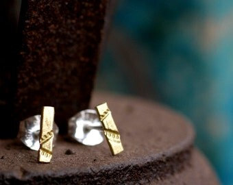 tiny line studs sterling silver gold bar studs minimalist earrings small bar earrings chevron studs gold line earrings SPARKLE STRIP STUDS