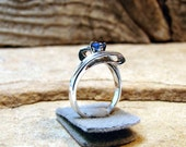 Half Off Going Out of Business Sale 40.00 Last One Blue Sapphire - Sterling Silver Ring with Genuine Blue Sapphire ready to ship size 5.25