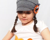 Dark Grey comfy kids hat with neon flower. Children accessories