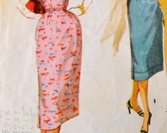 Vintage 1950s Sewing Pattern  Simplicity 1018 Misses' One Piece Dress Size 13  Bust 31 Inches  Complete