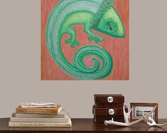 "Chameleon Oscar..... original painting, 7.9x7.9"", 20x20 cm, acrylic, canvas, fantasy, chameleon, reptile, nature"
