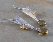 Whiskey Quartz and Sterling Silver Metalwork Earrings