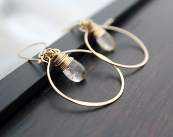 Golden Rutilated Quartz  Earrings, Hoops In 14K Gold Filled, Wire Wrapped, Neutral Fashion - Angel Face