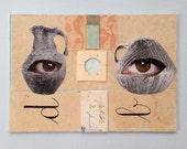 See Through Vases - Original Mini COLLAGE - Art Card - ACEO Eyes Vases Archaeology