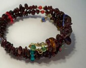 Garnet Wrap Bracelet Beaded with Crystal Beads and Garnet Gemstone Chips on Memory Wire