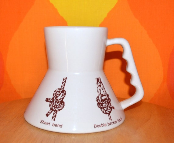 70s Vintage Mug Knots Tying Nautical Sail Boat Coffee Cup