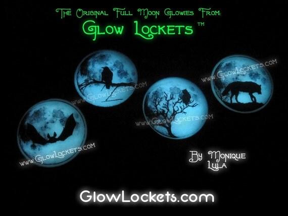 Choose Bat, Raven, Owl, or  Wolf Full Moon Glow Pendants