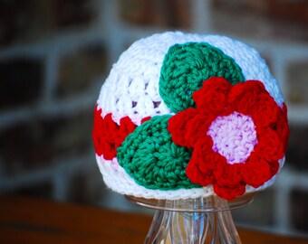 Baby girl Hat crochet beanie pink red flower  Size newborn 0  3 6 12 months