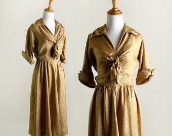 Vintage 1940s Dress - Mustard Yellow Swirls and Dots Day Dress - Small Medium