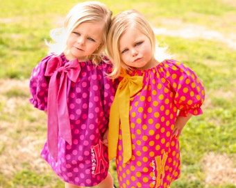 Girls Peasant Dress Pattern -Bodacious Bow- Easy To Sew 3 sleeve lengths 0m - 12 girls