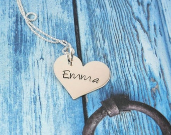 Heart Personalized Necklace - Hand Stamped Necklace - Sterling Silver  - Classic Heart Necklace - Personalized Heart Jewelry- custom jewelry