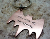 Superhero Key Chain - Hand Stamped Copper Batman Key Ring - Fathers Day - Boyfriend Husband Valentines Day