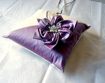 Agnes lavender pink and cream dupioni silk ring bearer pillow with handmade flower