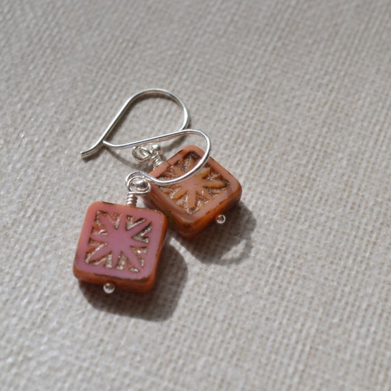 Pink Bohemian Star Earrings, Picasso Glass Tile, Sterling Silver French Hooks, Boho Beach