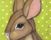 Rabbit Print Cute Bunny Portrait Children Wall Art ---Mr Carington Print 5 x 7