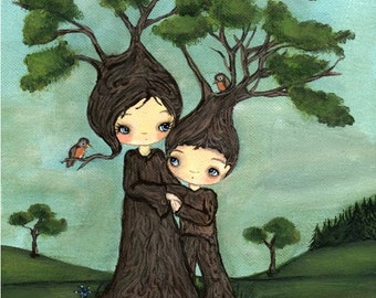 Tree Print Mom And Son Growing Trees & Bird Art---Mommy And Me Pine Trees