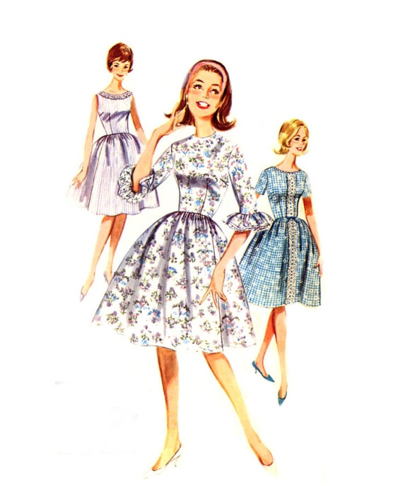 1960s Quick n Easy Dress - Butterick 2153 - Flared Skirt / Fitted Bodice / Sleeve Ruffle - Vintage Sewing Pattern - Size 14 / Bust 34