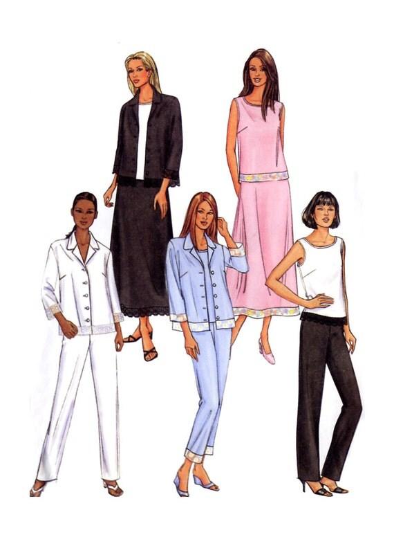 Easy Summer Wardrobe - Shirt / Sleeveless Top / A Line Skirt / Tapered Pants - Butterick 3827 - Plus Size Pattern 18-20-22 Uncut