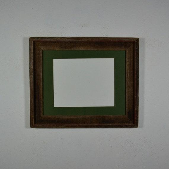 11x14 Barnwood Frame 8x10 Dark Green Mat