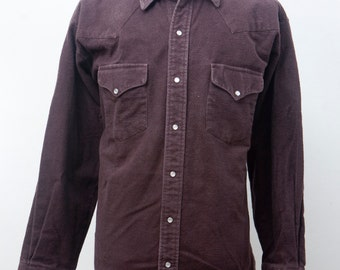 Men's Flannel Shirt / Vintage Western Shirt / Brown / Size XL-XXL