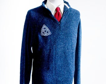 Medium Upcycled Navy Blue Sweater with Screen Printed Celtic Knot