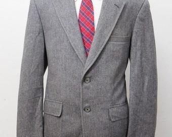 Men's Blazer / Vintage Grey Flannel Jacket / Size 42/Medium-Large