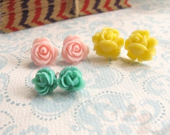 A set of 3 pairs Pink Yellow Green Nature shades Roses. Floral earrings. Spring Summer Ear accessories Everyday jewelry