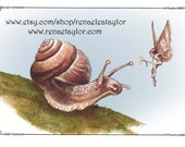Snail and Faerie, Greeting Card by renae taylor