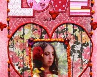 Altered Art Folded Greeting Card, Love, Heart, Valentine, Floral, Size 5x7, Handmade, Blank Inside