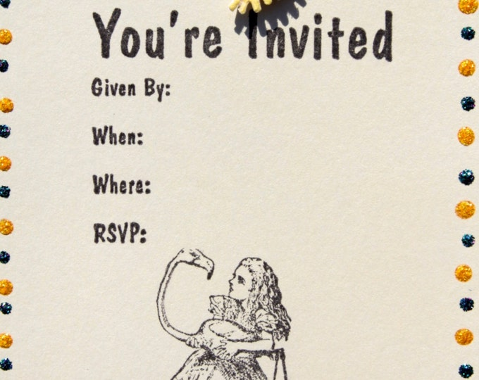 """Set of 10, flat Alice in Wonderland 3d Party Invitations with Matching stamped envelopes, size 4x5 1/2"""""""