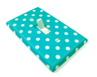Teal  and White Polka Dot Light Switch Cover Nursery Decor Teen Girls Bedroom Switchplate Switch Plate
