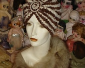 Brown and Ivory Chenille Flapper Swami Turban hat