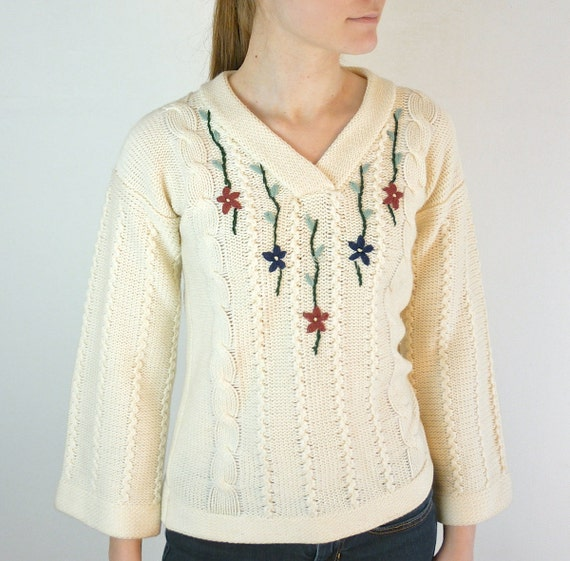 Boho Sweater - Embroidered Vintage Sweater