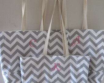 8  Bridesmaid totes Monogrammed -   Large Chevron Beach Totes personalized