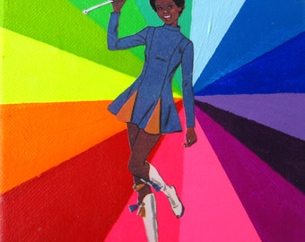 Rainbow Collage // Baton Girl // Fluorescent Bright Home Decor