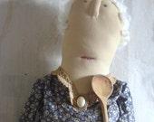 Maggie Byrne Makes Soda Bread. A Primitive, Folk Art Doll Pattern by Raven's Haven