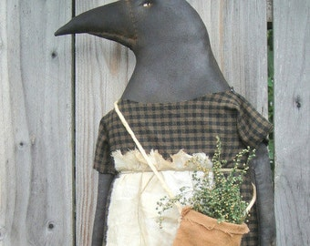 Herb Crow Ladye, A Primitive, Folk Art Pattern from Raven's Haven