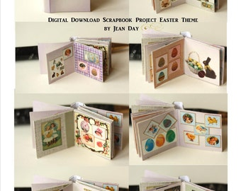 Easter Themed Scrapbook Album, 1:12 scale Digital Download book Miniature Dollhouse Printable many images, scrapbook Instant download DH006