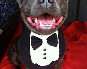 TUXEDO BANDANA - Wedding Groom- Shirt Front style -  All sizes - 9.99 - 14.99 - made to order