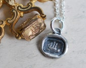 tiny ship wax seal necklace ... sail away - sterling silver antique nautical wax seal jewelry