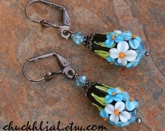 Bluebells Cone Flowers Lampwork DeSIGNeR EaRrings Spring Time Garden Daisies Morning Glories