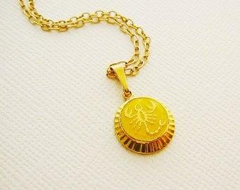 Vintage .. Necklace, Charm, Chain Scorpio Horoscope Goldtone Yellow