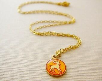 Vintage .. Necklace, Charm, Chain Aries Ram Orange Horoscope Goldtone